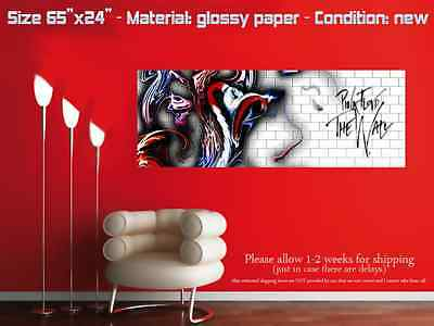 "HUGE 65""x24"" PINK FLOYD glossy wall art poster the wall division bell white"