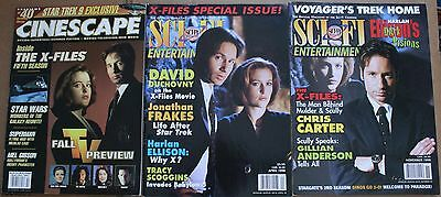 Lot of 3 X-Files Cover Magazines Cinescape Sci-Fi Entertainment Duchovny