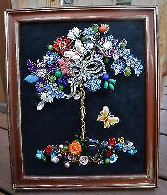 Tree of Life, Vintage & Modern Jewelry Art, Colorful One of a kind!