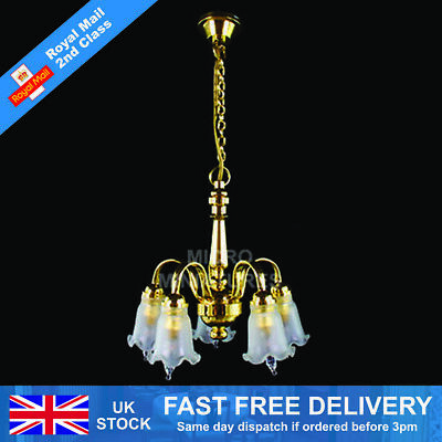 Dolls House 5 Down-Arm Tulip Shade Chandelier 1/12th Scale (01512)