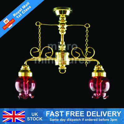 Dolls House 2 Down- Arm Cranberry Shade Chandelier 1/12 Scale (01518)