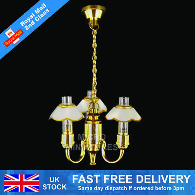 Dolls House 5 Down Arm Chandelier with Frosted Tulip Shades 1/12th Scale (01509)