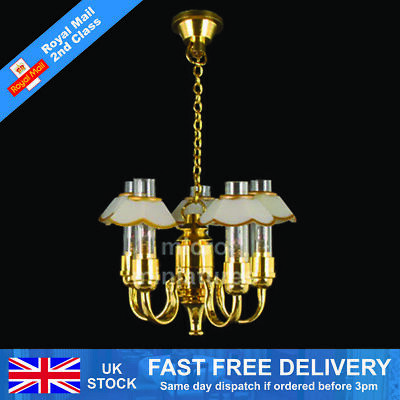 Dolls House 3 Up-Arm with White Shade Chandelier 1/12 Scale