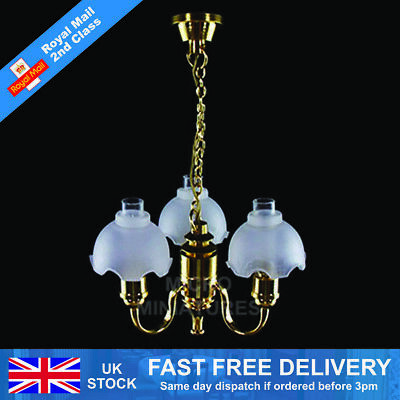 Dolls House 5 Up Arm Chandelier with White and Gold Shade 1/12th Scale (01508)