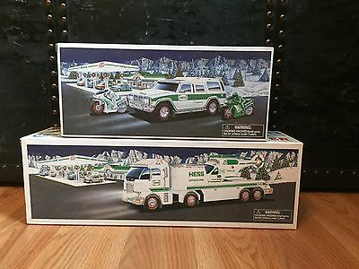 2 Collectible Hess Trucks and Poster