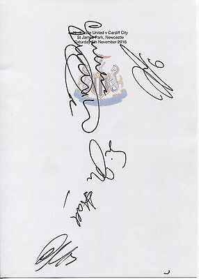 An A4 white card with the Newcastle United Badge. Signed by 5 players 05.11.2016