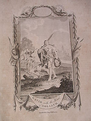 c 1800 DAVID AND GOLIATH FOLIO COPPER PLATE ENGRAVING   RELIGION THEOLOGY