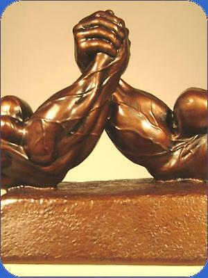 "#151 Arm Wrestling Arm Wrestle Trophy Sculpture 6-1/4"" TALL, 9"" WIDE"