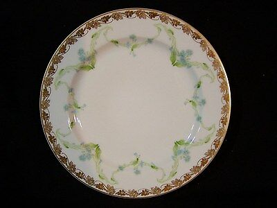 6 Haviland Limoges Dinner Plates Wide Double Gold / Blue Morning Glories Lilies