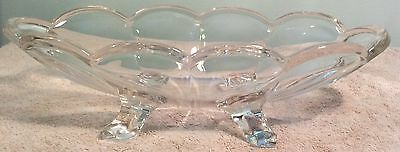 Clear Glass Footed Bowl Oval Scallop Edge Candy Dish Feet