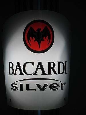 2002 Bacardi Silver Lighted Rum Beer Sign  Sconce Lamp Led Light Quality Classy