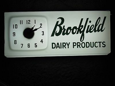Vintage Brookfield Dairy Lighted Clock Sign Light Sharpsville Pennsylvania Pa