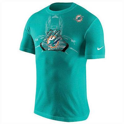 Miami Dolphins Nike NFL American Football Team Glove Cotton T-Shirt in Aqua M