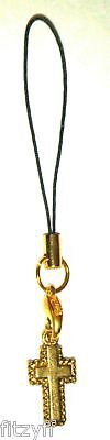 Holy Religious Cross Mobile Phone Handbag Strap Gold-tone Christian Gift