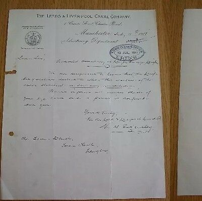 LEEDS & LIVERPOOL CANAL Co ADV DEPT LETTER 1911 TO TOWN CLERKS OFFICE LEIGH LANC