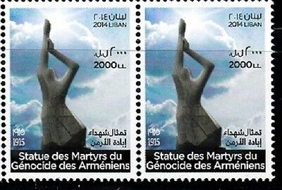 Armenian Genocide 1915 Stamp, Issued By Lebanon Sc# 703 Pair Mnh
