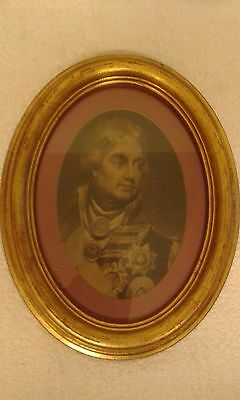 Antique Framed Oval Print - Portrait of Lord Horatio Nelson. 29 x 24 cms.