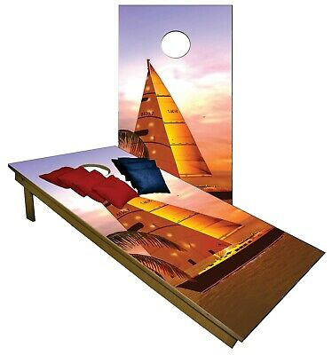Pleasing Cornhole Cartoon Sunset Sail Yacht Boards Beanbag Toss Game Bralicious Painted Fabric Chair Ideas Braliciousco