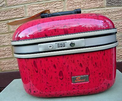 "Red Hard Shell Vanity / Cosmetic Make Up Case - ""speed"" - With Insert & Mirror"