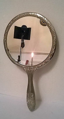 1980's VINTAGE H.SAMUEL VICTORIAN STYLE ORNATE HAND HELD SILVER PLATED MIRROR