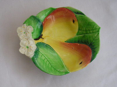 Carlton Ware vintage retro leaf dish with pear and blossom decoration
