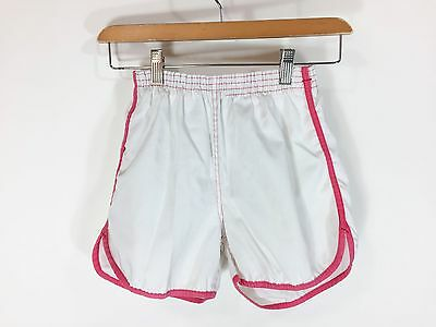 Vintage 1970s Gym Shorts White Pink Stripe Athletic Jogging Pull On