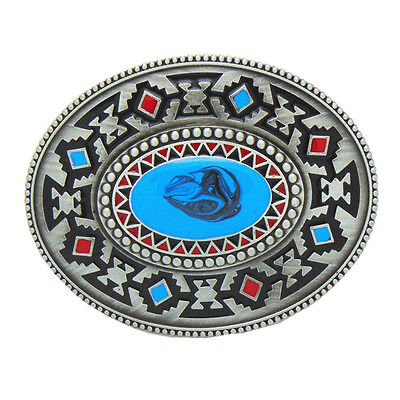 Vintage Native Indian American Celtic Totem Belt Buckle Oval Mens Western Cowboy