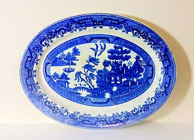 Victorian Blue & White Willow Pattern Large Oval Meat Platter