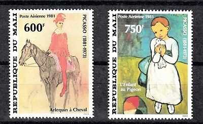 Mali Sc# C434-C435 Picasso Paintings: Harlequin On Horseback,the Child Pigeon