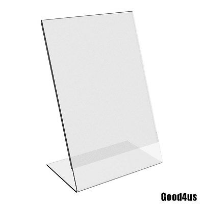 Clear Acrylic Slant Back Ad Sign Holder Plastic Picture Photo Frame 6 Pack