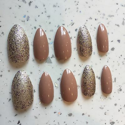Nude And Gold Glitter Hand Painted Stiletto Nails CHRISTMAS/PARTY NAILS