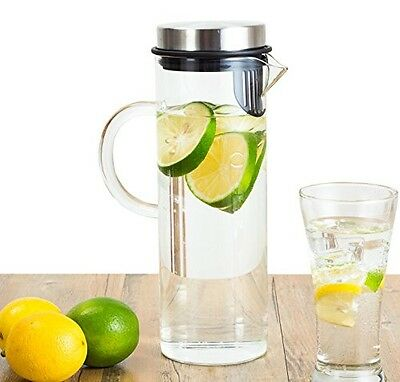 Perlli Fruit Infusion Glass Pitcher - Quality Borosilicate Glass - Stainless