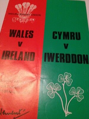 Wales v Ireland 3/2/1979 Cardiff Arms Park programme