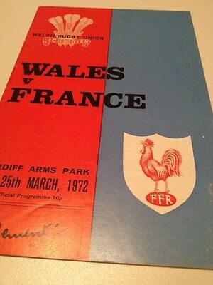 Wales v France 25/3/1972 Cardiff Arms Park programme