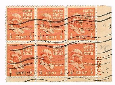 (12-546) 1  Cancelled Benjamin Franklin  Plate Block USA  Postage sTamsps
