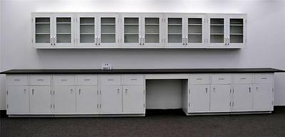 15' - Wall & 17' Base Laboratory Cabinets Benches w/ Industrial Tops LS OPEN2