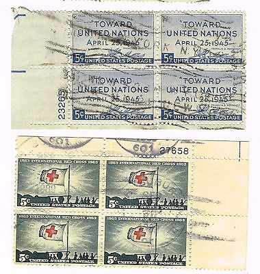 (12-536) 2 Cancelled  Plate Blocks, USA  Postage sTamsps