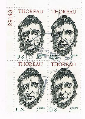 (12-532) 1 Cancelled  Thoreau  Plate Block, USA  Postage sTamsps