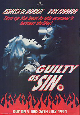 A4 Advert for the Video Release of Guilty As Sin Rebecca De Mornay Don Johnson