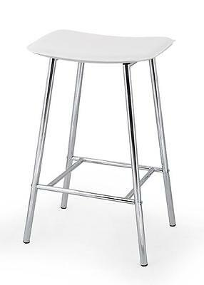 NEW 3 x PVC Leather Bar stool & Kitchen chair WHITE, 4 legs fixed