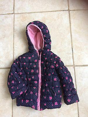 Mother are Girls Blue Floral Hooded  Jacket Padded Age 2-3 Years