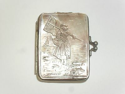 """ANTIQUE Iridescent Mother Of Pearl """"Dieppe"""" Souvenir Coin Purse.Early 1900s."""