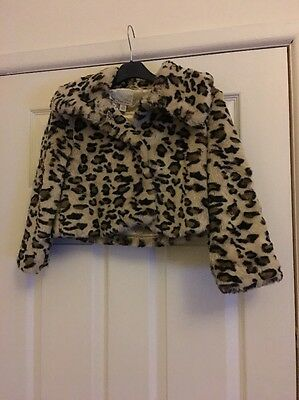 Next Leopard Print Fur Coat Girls Age 5 - 6 Years
