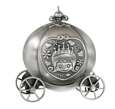 New Pewter Money Box Pumpkin Coach, Christening, birth, gift