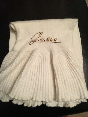 Girls Guess Scarf Cream With Gold Lettering