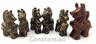 Amazing Group Of 6 Dragons: 5 Kids & 1 Guardian, Old Chinese Jade Hand Carved