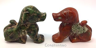 Beautiful Hand Carved Old Chinese Orange-Green Jade Gift-Set: 2 Faithful Dogs