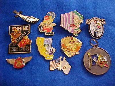 Masonic and Shriner pins with backings, collectables  Lot of 10 - #6