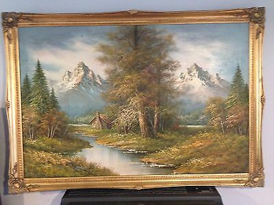 Large Oil on Canvas framed painting signed G Whitman.Size:100cmx70cm