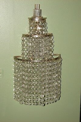 PAIR OF FRENCH CRYSTAL GLASS & BRONZE SCONCES, MANNER OF Emile-Jacques Ruhlmann